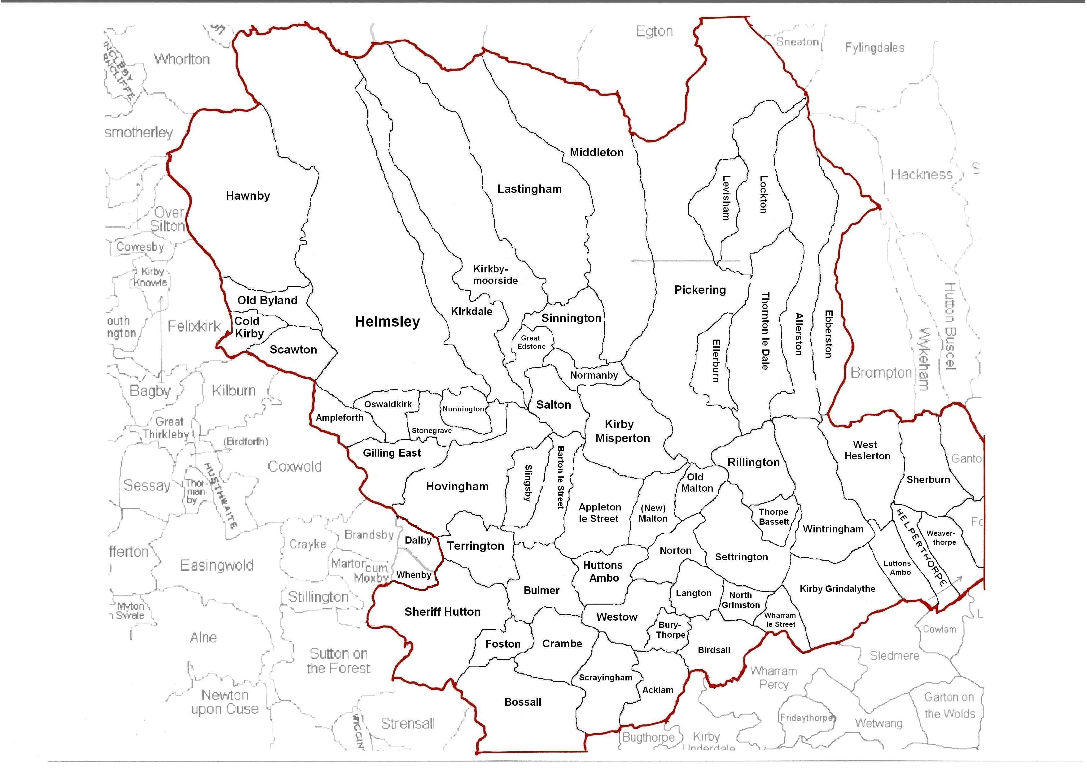 Map of the Ryedale area